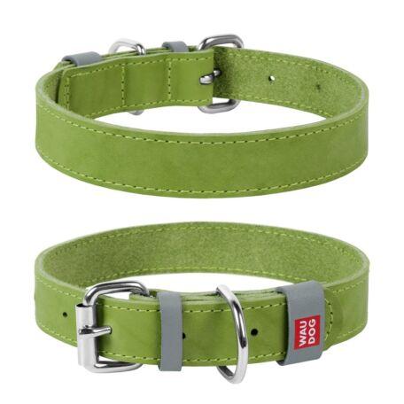 Waudog Classic bőr nyakörv, 30-39 cm, lime zöld