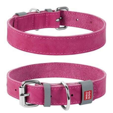 Waudog Classic bőr nyakörv, 30-39 cm, rózsaszín