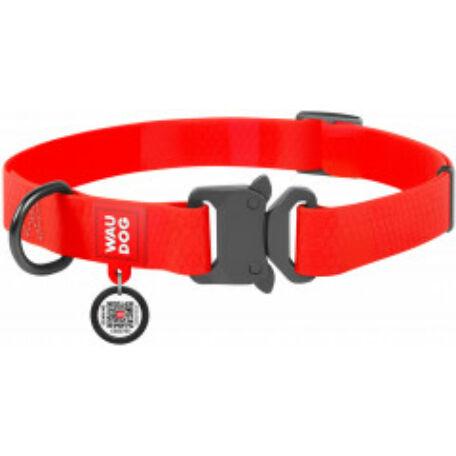 Waudog gyorskioldású csatos vízálló nyakörv, 15 mm széles, 23-35 cm hosszú, piros