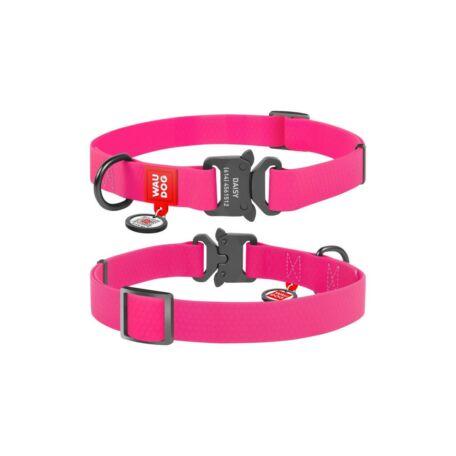 Waudog gyorskioldású csatos vízálló nyakörv, 20 mm széles, 24-40 cm hosszú, rózsaszín