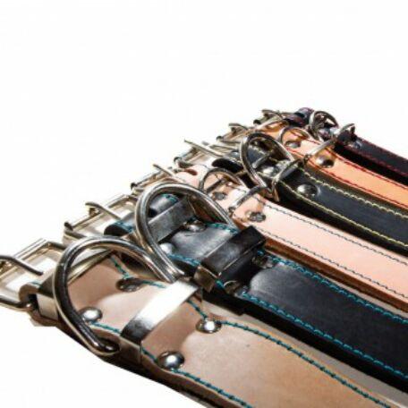 40 mm széles bőr nyakörv (75 cm) fekete